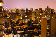 Aerial View at Night, New York City Royalty Free Stock Images