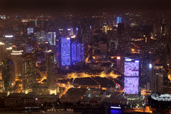 Aerial view Night in Shanghai, China Royalty Free Stock Image