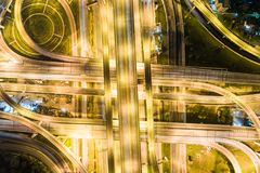 Aerial view night traffic freeway movement transport Royalty Free Stock Photography