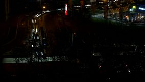 Aerial View with Night Traffic Rush Hour Time Lapse with Cars on the Street stock footage