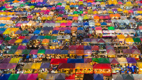 Aerial view night view over night market roof top Royalty Free Stock Photo