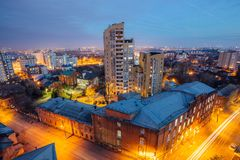 Aerial view of night Voronezh downtown. Voronezh cityscape at blue hour. Urban and traffic lights, houses Royalty Free Stock Images