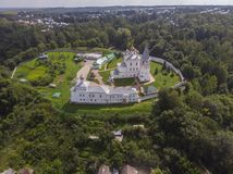 Photo of Nikolsky Men`s Monastery, Gorohovets, Russia from a drone royalty free stock photography