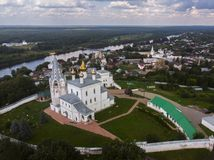 Aerial view at Nikolsky Men`s Monastery, Gorohovets, Russia stock image