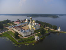 Aerial view on Nilo-Stolobensky monastery on Seliger lake Royalty Free Stock Images