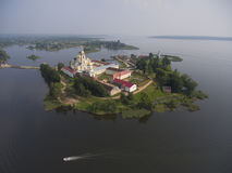 Aerial view on Nilo-Stolobensky monastery on Seliger lake Royalty Free Stock Photos