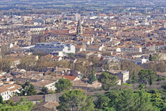 Aerial view of Nimes, France. Royalty Free Stock Image