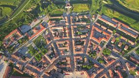 Aerial view of nine-sided town wall or star fort of Palmanova, Italy Stock Images