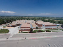 Aerial View of Niwot High School. A front aerial view of Niwot High School Stock Photo