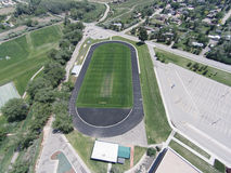 Aerial View of Niwot High School Sports Fields. Centered on the football field Stock Photo
