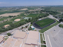 Aerial View of Niwot High School Sports Fields. Including part of the high school Royalty Free Stock Photography