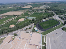 Aerial View of Niwot High School Sports Fields. Including part of the high school building Stock Image