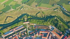 Aerial view of nonagon town wall or star fort of Palmanova, Italy. Aerial view of nonagon town wall or star fort of Palmanova Stock Images