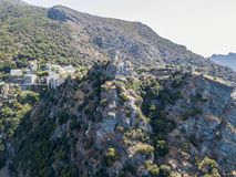 Aerial view of Nonza and tower on a cliff overlooking the sea. Corsica. Coastline. France Royalty Free Stock Photos