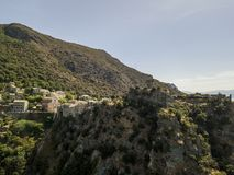 Aerial view of Nonza and tower on a cliff overlooking the sea. Corsica. Coastline. France Royalty Free Stock Photography