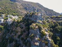 Aerial view of Nonza and tower on a cliff overlooking the sea. Corsica. Coastline. France Royalty Free Stock Images