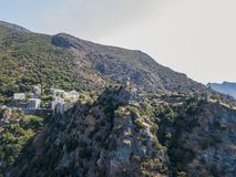 Aerial view of Nonza and tower on a cliff overlooking the sea. Corsica. Coastline. France Stock Photo