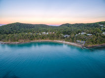 An aerial view of Noosa National Park at sunset in Queensland Australia Royalty Free Stock Image