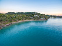 An aerial view of Noosa National Park at sunset in Queensland Australia Stock Image
