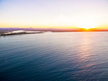 An aerial view of Noosa National Park at sunset in Queensland Australia Stock Photo