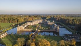 Aerial view of Nordkirchen moated castle in Germany, known as the Versailles of Westphalia. Aerial view of Nordkirchen moated castle in Germany known as the stock photos