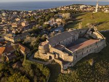 Aerial view of the Norman Swabian castle, Vibo Valentia, Calabria, Italy. Overview of the city seen from the sky, houses and roofs stock photos