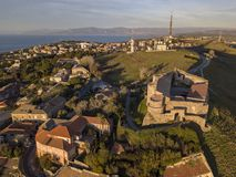 Aerial view of the Norman Swabian castle, Vibo Valentia, Calabria, Italy. Overview of the city seen from the sky, houses and roofs stock photography