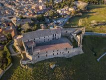Aerial view of the Norman Swabian castle, Vibo Valentia, Calabria, Italy. Overview of the city seen from the sky, houses and roofs royalty free stock photos