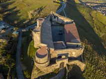 Aerial view of the Norman Swabian castle, Vibo Valentia, Calabria, Italy. Overview of the city seen from the sky, houses and roofs stock image