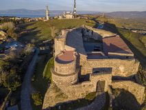 Aerial view of the Norman Swabian castle, Vibo Valentia, Calabria, Italy. Overview of the city seen from the sky, houses and roofs royalty free stock photography