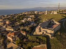 Aerial view of the Norman Swabian castle, Vibo Valentia, Calabria, Italy. Overview of the city seen from the sky, houses and roofs stock images