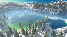 Aerial view of a north american forest at fall 3d rendering Royalty Free Stock Image