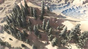 Aerial view of a north american forest at fall 3d rendering Royalty Free Stock Photo