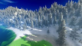 Aerial view of a north american forest at fall 3d rendering Stock Image