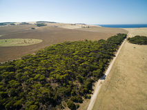 Aerial view of North Cape Road, trees and pastures. Kangaroo Isl Royalty Free Stock Images