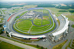 Aerial view of North Carolina Speedway in Charlotte, NC stock photos