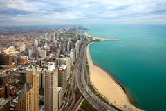 Aerial view of  North Chicago. And Lake Michigan, Illinois, USA Royalty Free Stock Photo