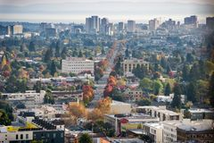 Aerial view of north Oakland on a sunny autumn evening stock photography