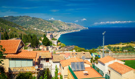 Aerial view of the north side of Taormina Royalty Free Stock Photo
