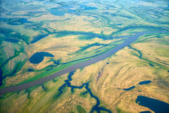 Aerial view on North Yakutia landscapes Royalty Free Stock Photo
