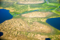 Aerial view on North Yakutia landscapes Royalty Free Stock Photos