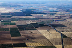 Aerial View Northern California Farm Land And Canals Stock Images