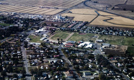 Aerial View Northern California Rural Community And Fields Stock Photo