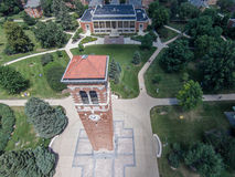 Aerial view of Northern Iowa Campanile Royalty Free Stock Photography