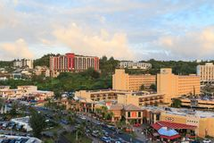Aerial view of nothern part of Tumon Bay aerea. GUAM, USA - Dec 21, 2017: Aerial view of nothern part of Tumon Bay aerea. With many hotels and shopping centers Stock Images