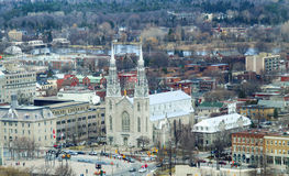 Aerial view of Notre-Dame Cathedral Basilica Stock Images