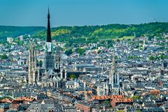 Aerial view of Notre Dame Cathedral and Saint-Maclou Church in Rouen, France royalty free stock photos