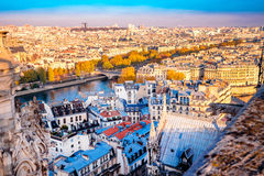 Aerial view from Notre Dame de Paris,France in autumn. Stock Images