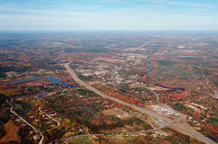 Aerial view of Nova Scotia. Shortly after take off royalty free stock photos