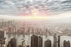 Aerial view of nuclear explosion Royalty Free Stock Image
